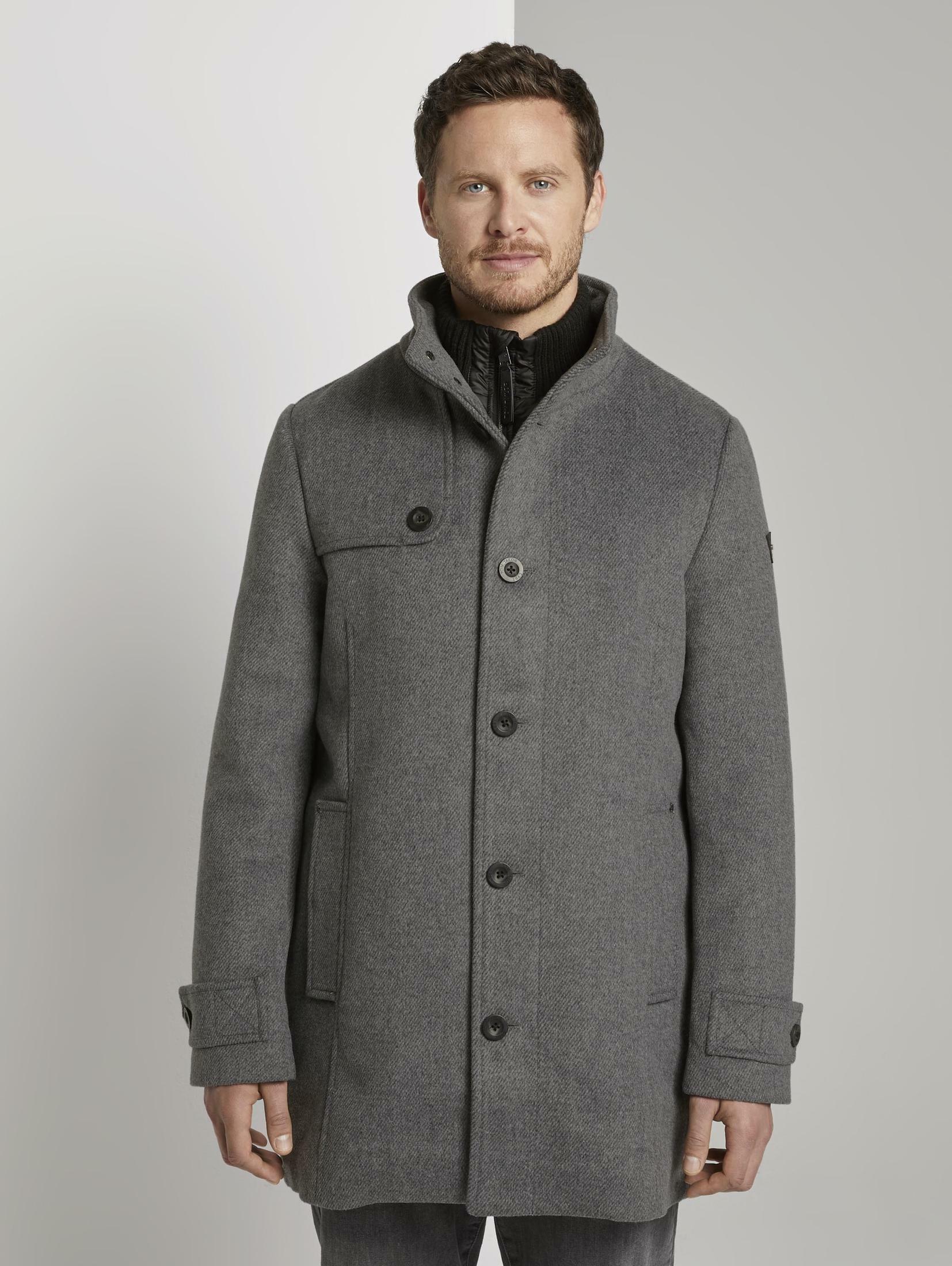 tom tailor -  Wollmantel Stehkragen Mantel aus Wollmischung