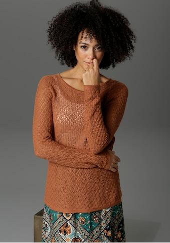 Aniston CASUAL Rundhalspullover, mit Bindeband und V-Ausschnitt im Rücken kaufen