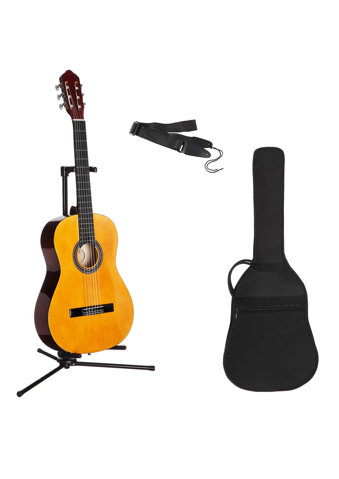 Gitarrenset Konzertgitarre, 1/4, inkl. Gitarrentasche und Gitarrengurt beige Gitarre Musikinstrumente