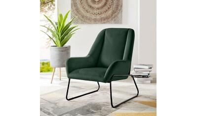 andas Sessel »Casero«, mit einem schönen pflegeleichtem Samtvelours Bezug und schwarzen Metallbeinen, Sitzhöhe 42 cm kaufen