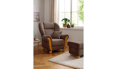 Home affaire Loungesessel »Milano Vintage«, hoher Sitzkomfort mit hoher Rückenlehne, incl. Zierkissen, Bezug in pflegeleichter Vintageoptik kaufen