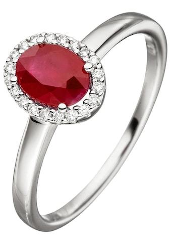 JOBO Diamantring, 585 Weißgold mit Rubin und 20 Diamanten kaufen