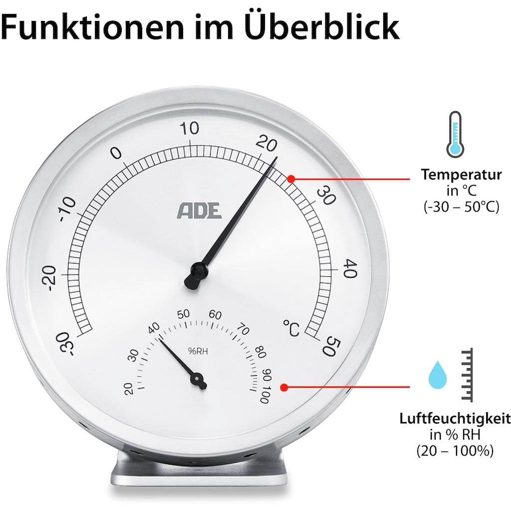 ADE Innenwetterstation »WS1813«, analoges Thermo-Hygrometer, Edelstahl mit Glas-Abdeckung, Retro
