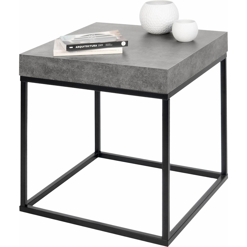 TemaHome Couchtisch »Petra«, mit einer Tischplatte in Beton-Optik und einem schönen schwarzen Beingestell