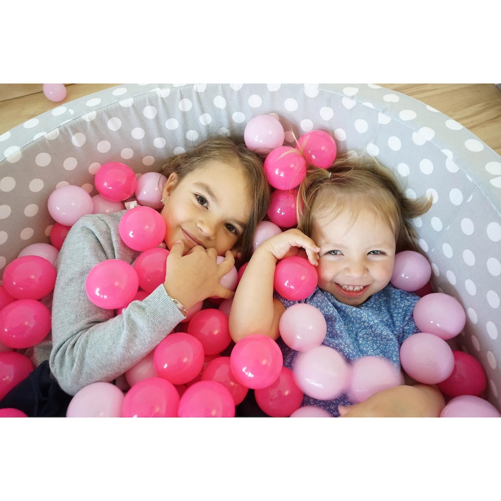 Knorrtoys® Bällebad »Soft, Grey white dots«, mit 300 Bällen soft pink; Made in Europe