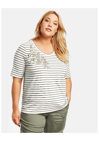 Samoon Rundhalsshirt »Ringel - Shirt mit Pailletten - Stickerei organic cott« kaufen