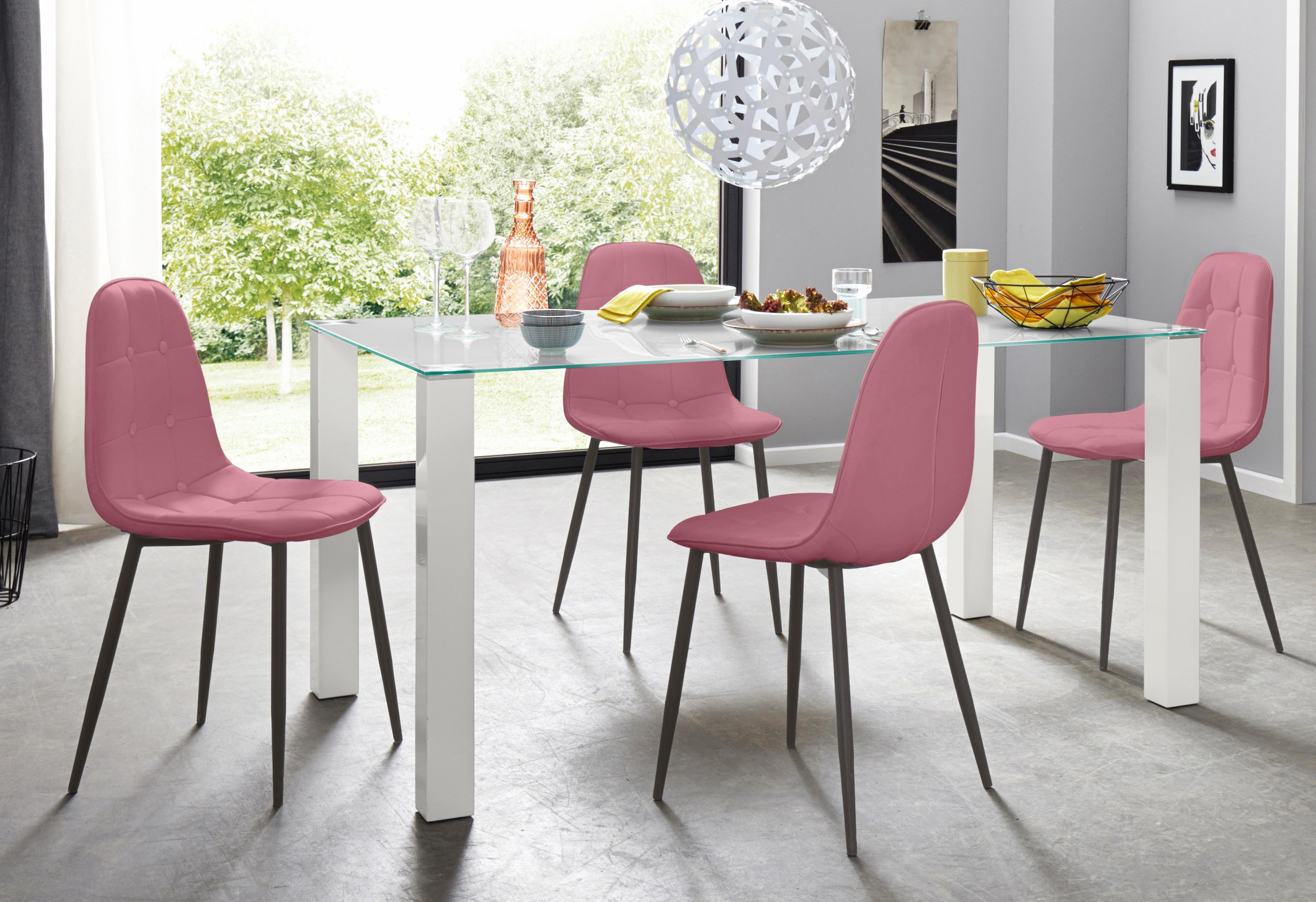 Essgruppe 5-teilig mit Glastisch 160 cm breit | Wohnzimmer > Tische > Glastische | Rosa
