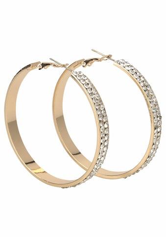 J.Jayz Paar Creolen »breitere Form im glamourösen Design, gelbgoldfarben« kaufen