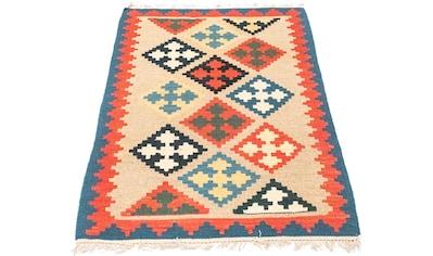 morgenland Wollteppich »Kelim Fars Teppich handgewebt beige«, rechteckig, 4 mm Höhe,... kaufen