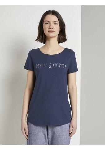TOM TAILOR Denim T - Shirt »T - Shirt mit Pailletten - Schriftzug« kaufen