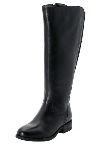 Sheego Weitschaftstiefel, aus Leder mit Stretcheinsatz kaufen