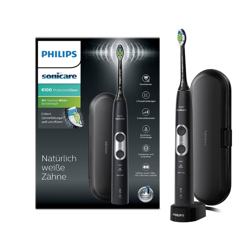 Philips Sonicare Elektrische Zahnbürste »HX6870/53«, 1 St. Aufsteckbürsten, ProtectiveClean 6100, Schallzahnbürste, mit 3 Putzprogrammen inkl. Reiseetui & Ladegerät