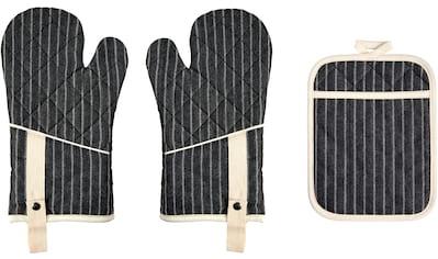 """stuco Topfhandschuhe """"gestreift"""", (Set, 3 - tlg., bestehend aus 2x Ofenhandschuh, 1x Küchengreifhilfe) kaufen"""