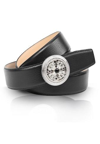 Anthoni Crown Ledergürtel, in schwarz mit natursilberfarbener Koppelschließe und... kaufen