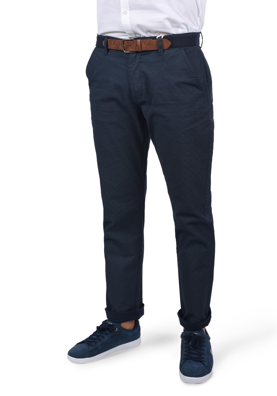Blend Chinohose Keaton, (mit abnehmbarem Gürtel), lange Hose im Chino-Stil mit Gürtel blau Herren Business Hosen Businessmode