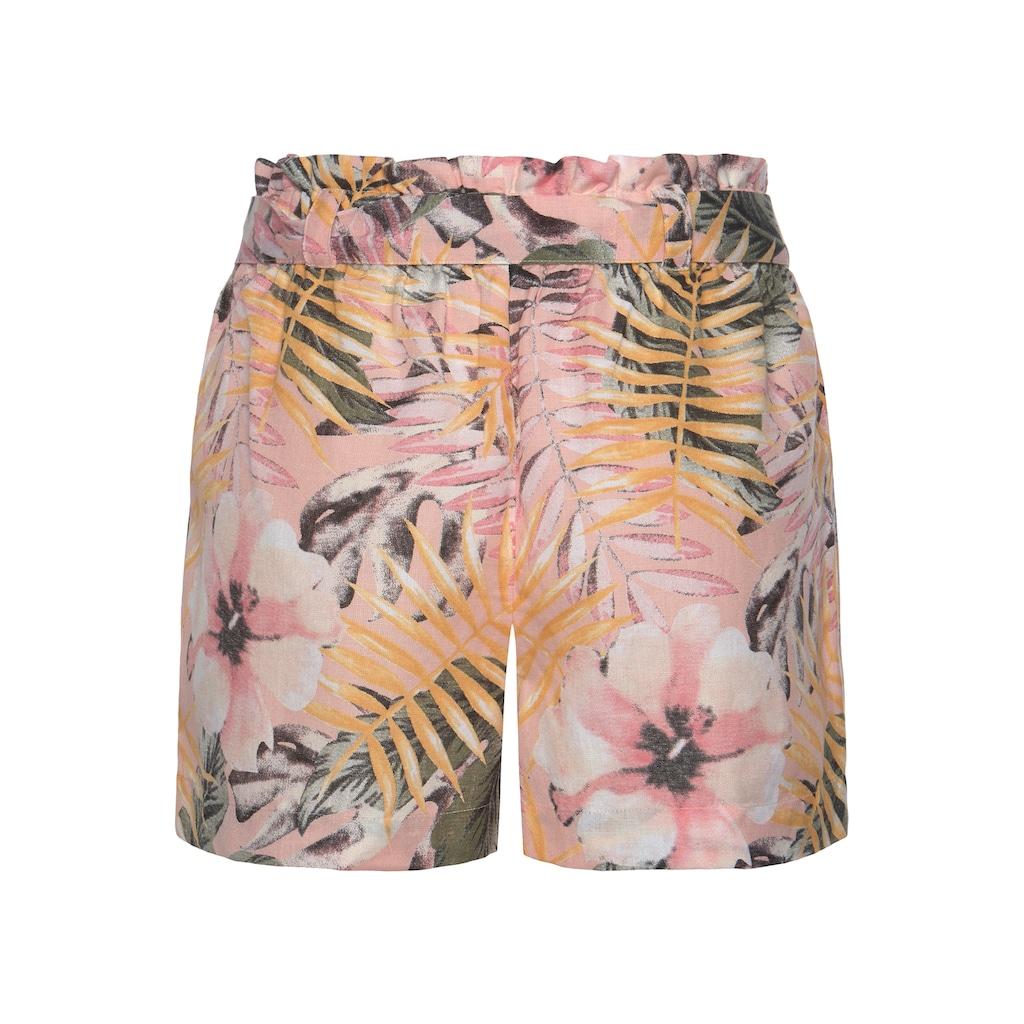 LASCANA Shorts, (mit Bindegürtel), im Paperbag-Stil aus Leinenmix