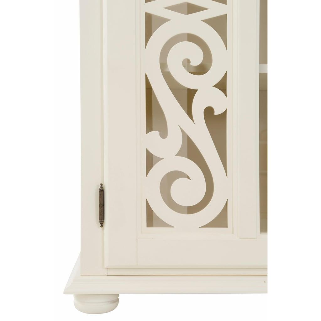 Home affaire Vitrine »Arabeske«, mit schönen dekorativen Fräsungen auf der Türfront, Türanschlag unterschiedlich auswählbar, Höhe 190 cm
