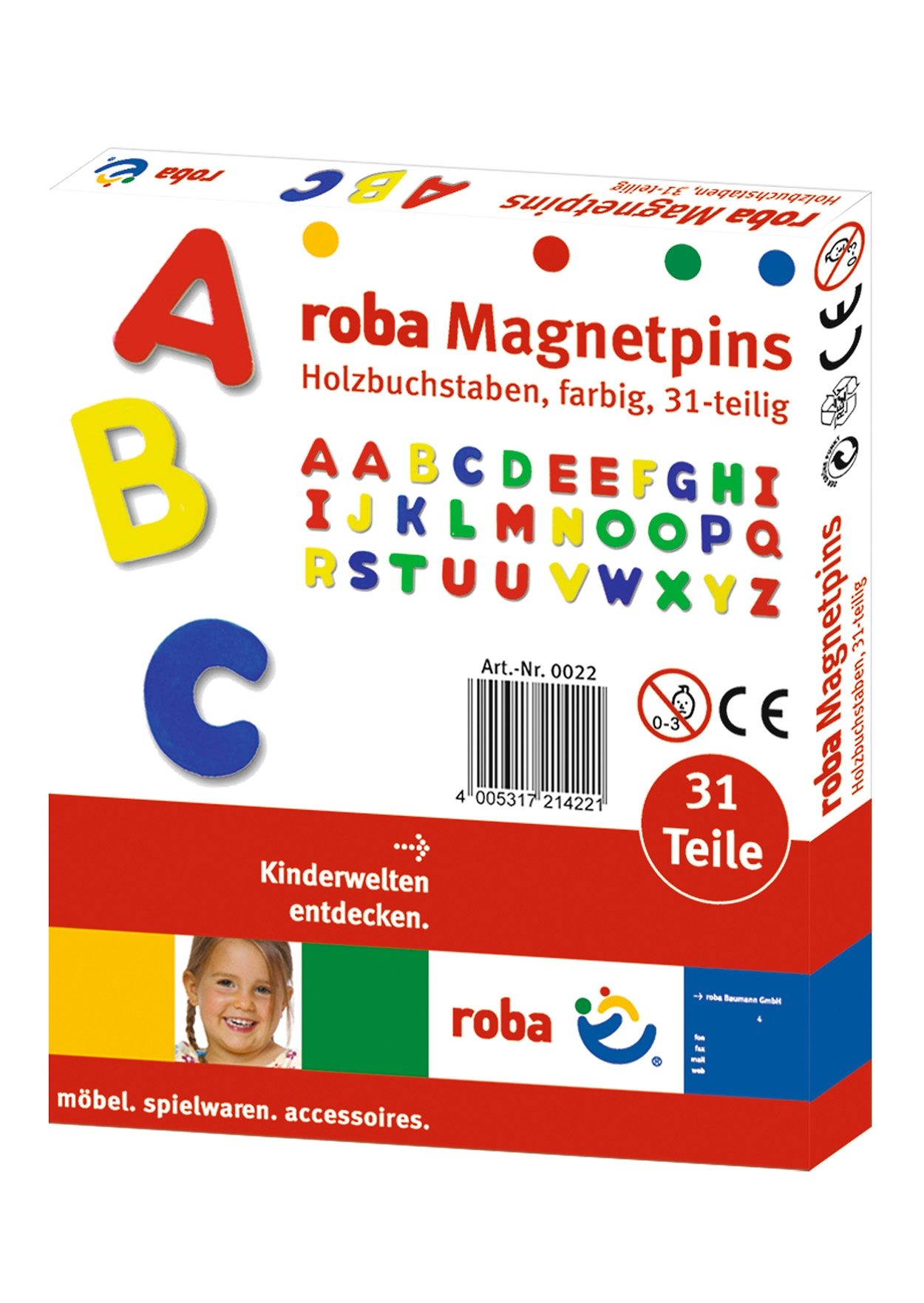 Holz-Magnetbuchstaben, Roba (31tlg.)