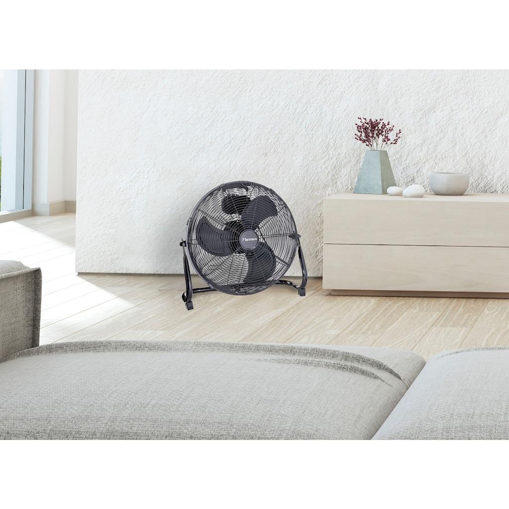 bestron Bodenventilator »im Retro-Stil«, Windmaschine mit 3 Geschwindigkeitsstufen & stufenlos neigbarem Ventilatorkopf, Höhe: 47 cm, Ø 45 cm, 100 W, Schwarz