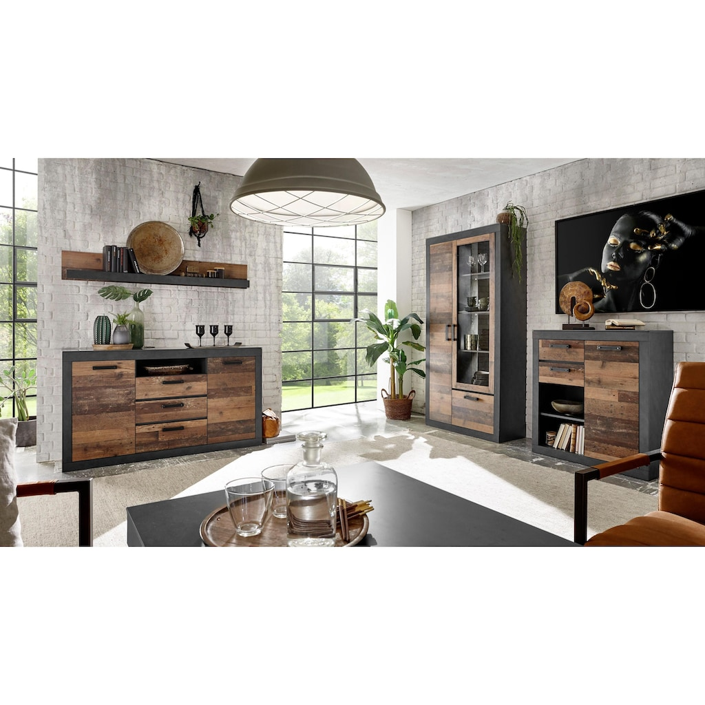 Home affaire Vitrine »BROOKLYN«, in dekorativer Rahmenoptik