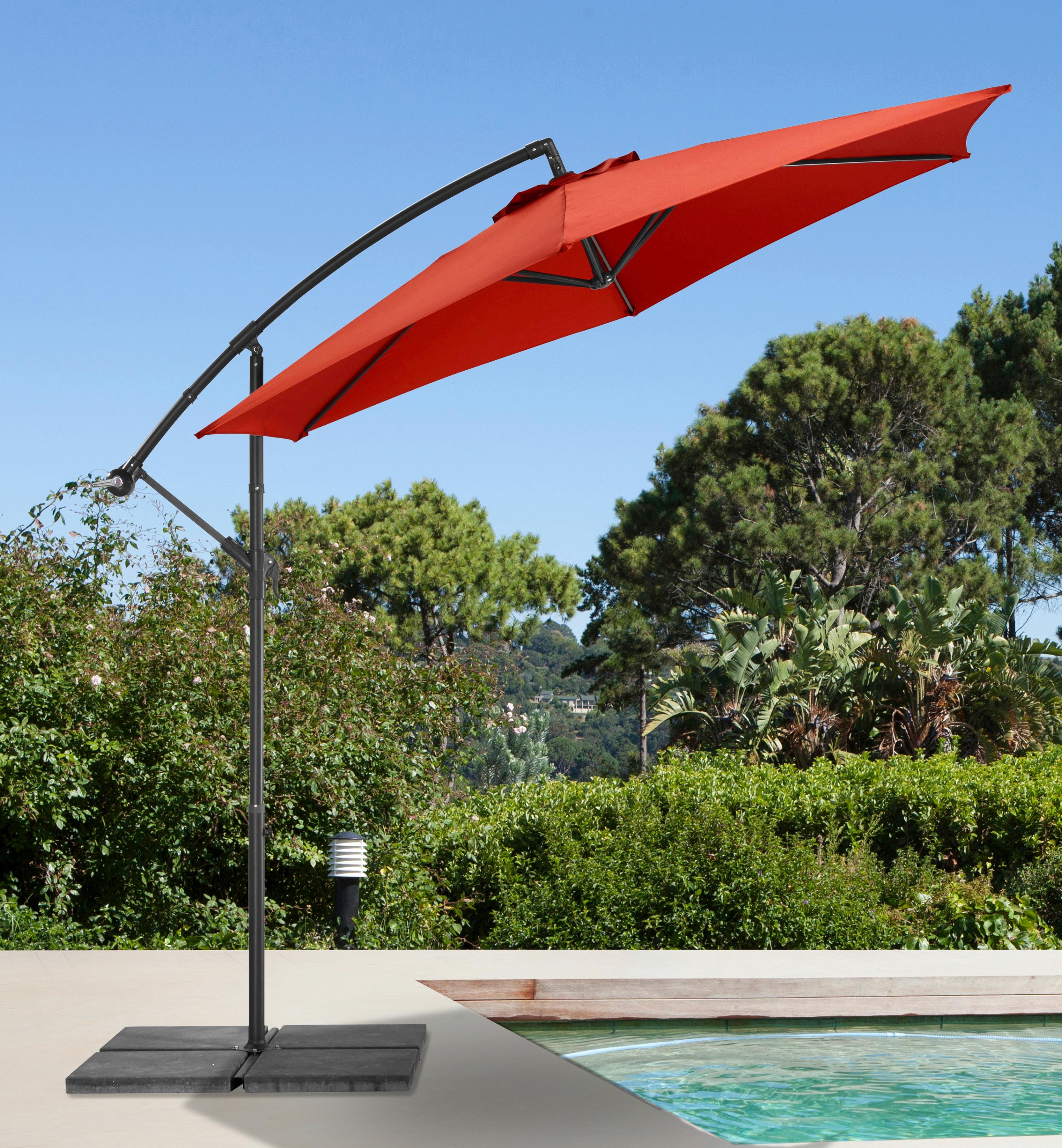 garten gut Ampelschirm Sunshine, abknickbar, mit Schirmstände rot Sonnenschirme -segel Gartenmöbel Gartendeko