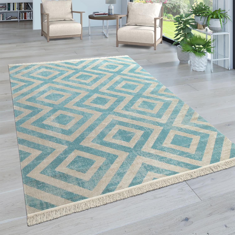 Paco Home Teppich Poco 821, rund, 2 mm Höhe, Wohnzimmer blau Esszimmerteppiche Teppiche nach Räumen