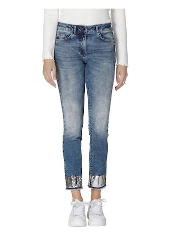 Amy Vermont 7/8-Jeans, mit Pailletten am Saum und Fransenabschluss kaufen