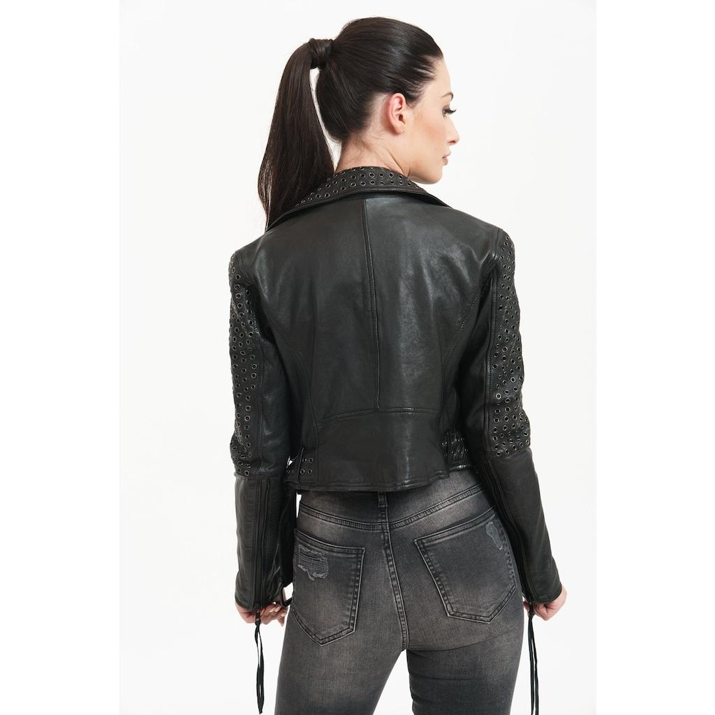 trueprodigy Lederjacke »Raven«, mit Nieten und Reißverschluss Details