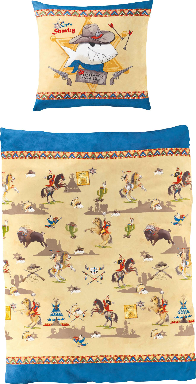 Kinderbettwäsche Indianer/Cowboy, Capt`n Sharky blau Bettwäsche 135x200 cm nach Größe Bettwäsche, Bettlaken und Betttücher