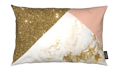 Juniqe Dekokissen »Pink and Gold Marble Collage«, Weiches, allergikerfreundliches Material kaufen