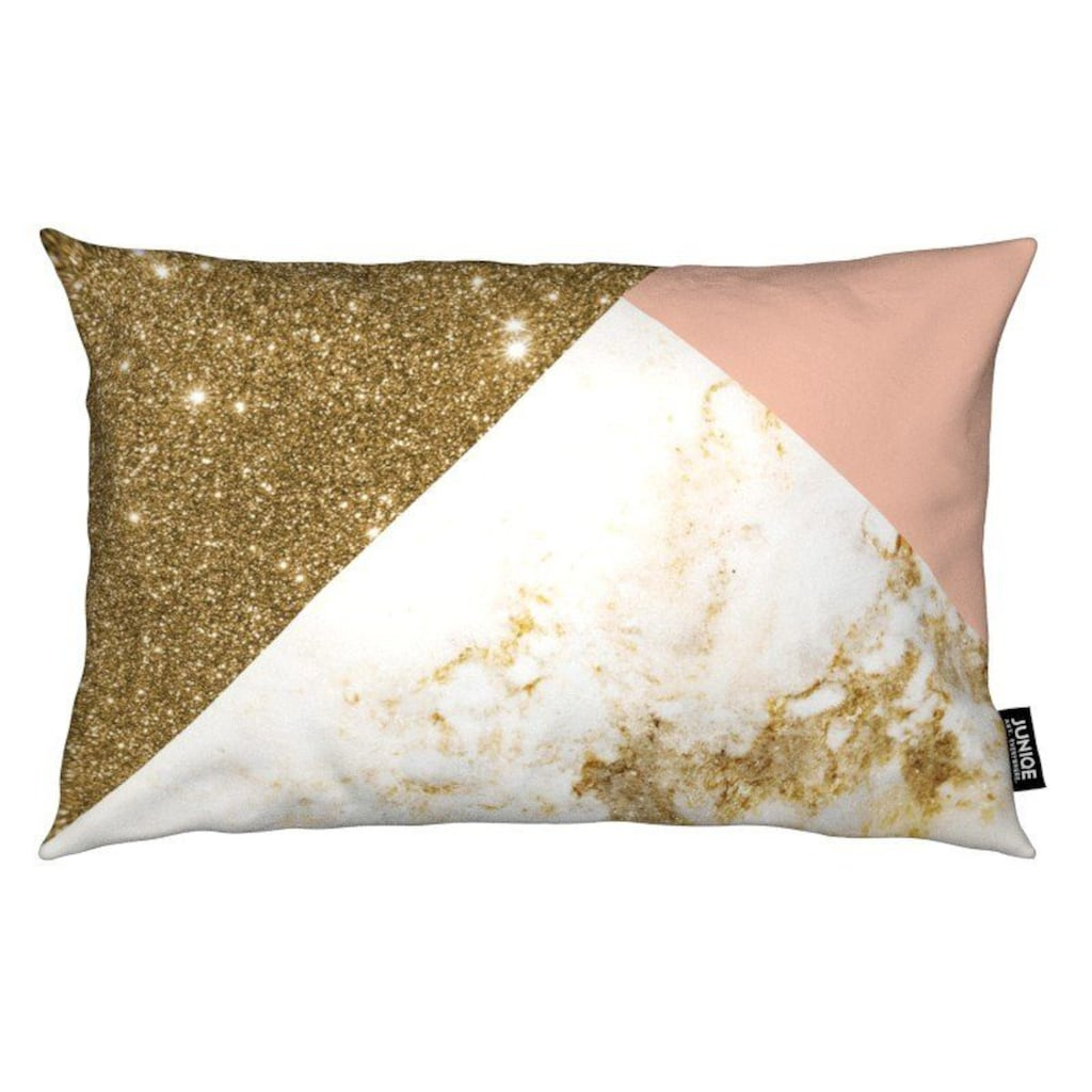 Juniqe Dekokissen »Pink and Gold Marble Collage«, Weiches, allergikerfreundliches Material