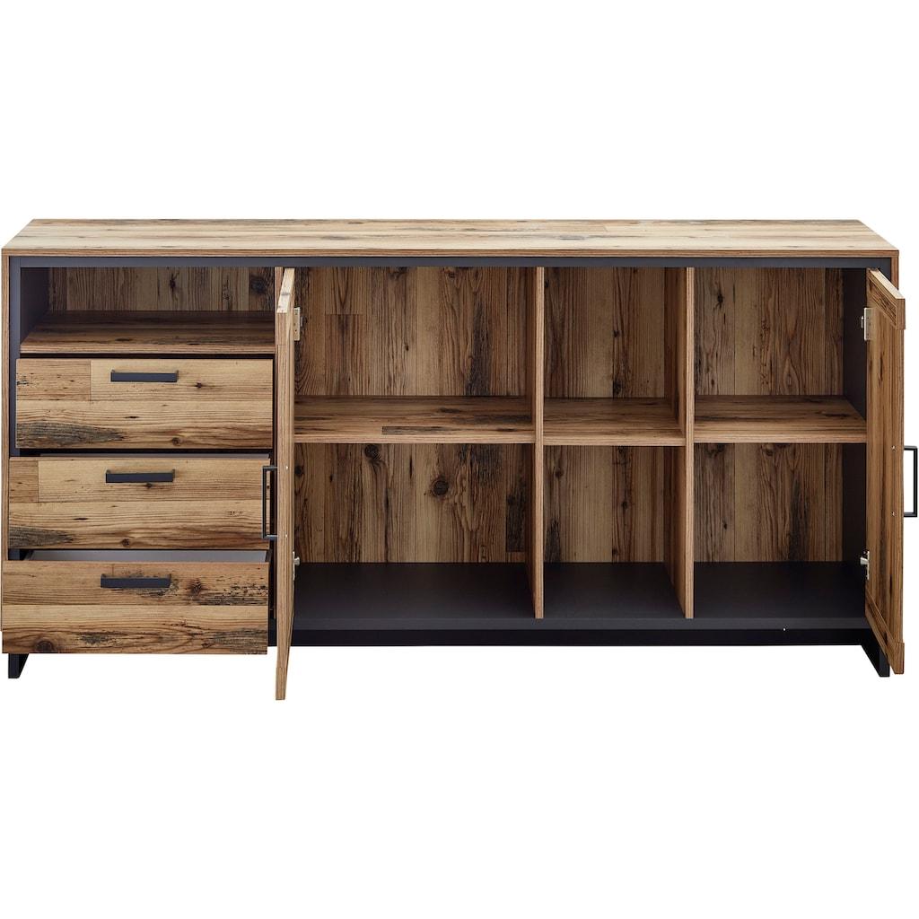 Innostyle Sideboard »Prato«, Breite 185 cm, 2 Holztüren, 3 Schubkästen, 3 offene Fächer