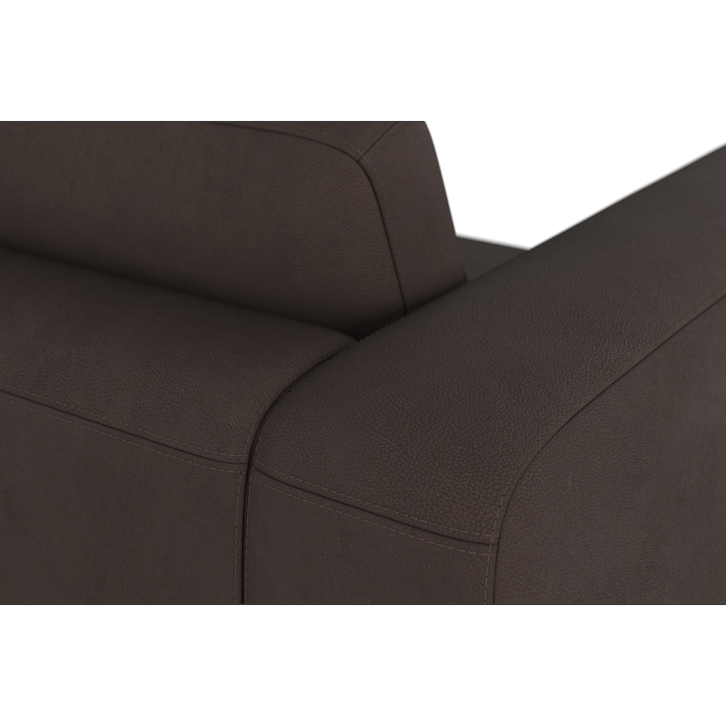 machalke® 2,5-Sitzer »valentino«, mit breiten Armlehnen, Füße Walnuss, Breite 191 cm, mit GRATIS Ledertasche
