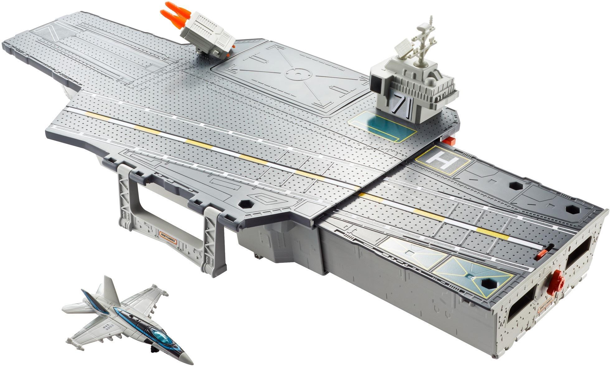 MATCHBOX Spiel-Gebäude Top Gun Flugzeugträger Spielset grau Kinder Zubehör für Spielzeugautos Autos, Eisenbahn Modellbau