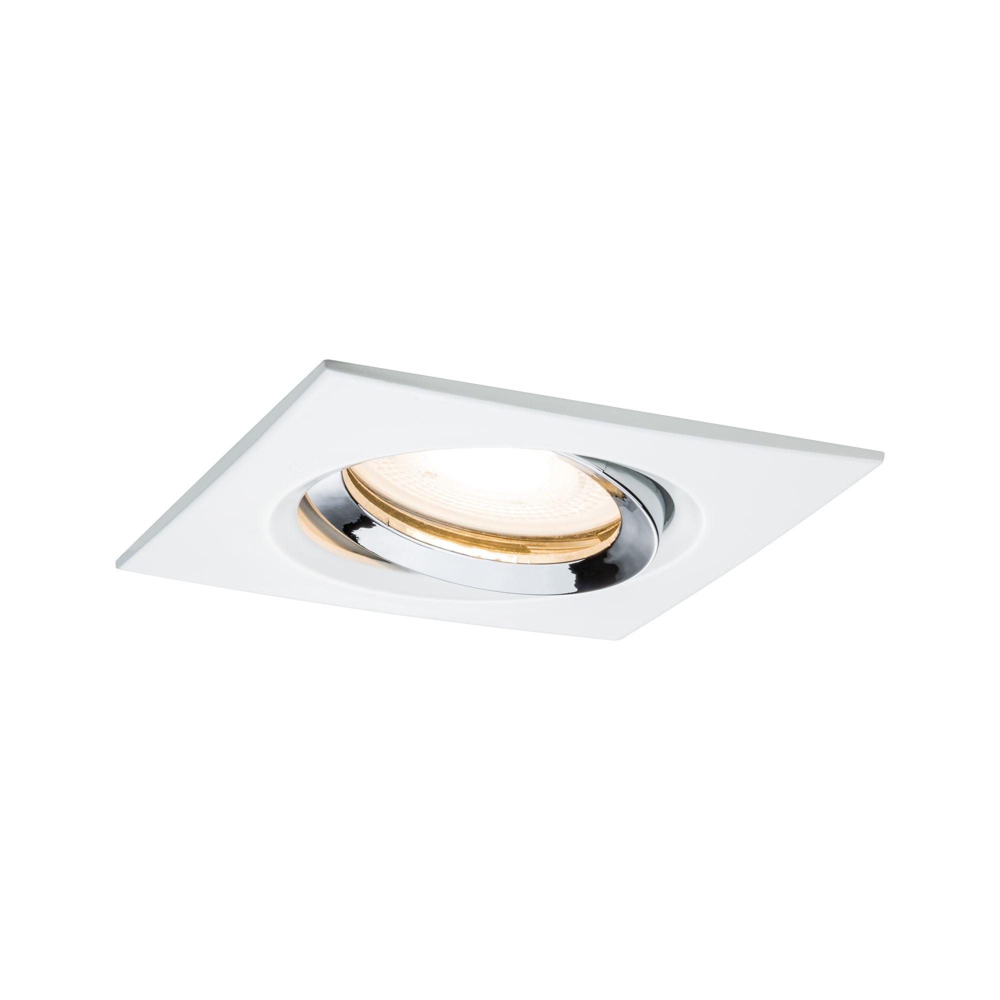Paulmann LED Einbaustrahler Nova eckig schwenkbar 1x7W GU10 Weiß matt, Chrom, GU10, 1 St.