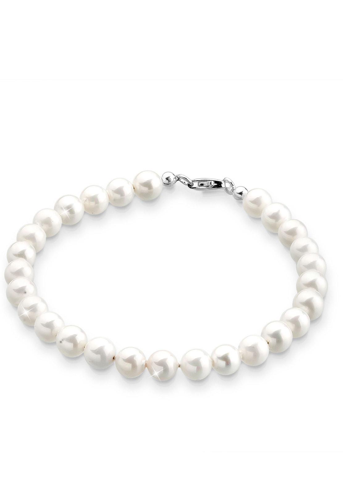 Elli Perlenarmband Zeitlos aus Muschelkernperlen 925 Silber | Schmuck > Armbänder > Perlenarmbänder | Weiß | Elli