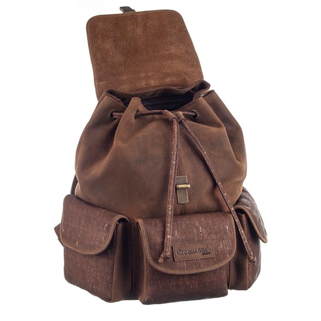 GreenLand Nature Cityrucksack »NATURE Leather-Cork«, mit RFID-Schutz