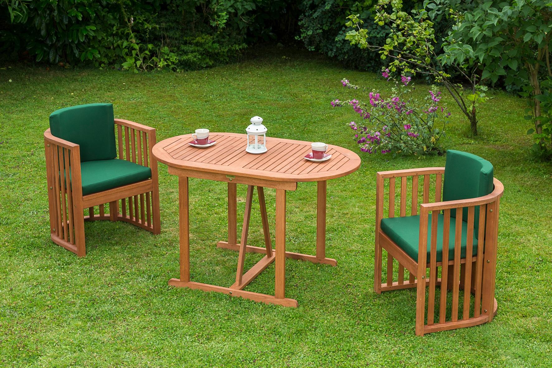 MERXX Gartenmöbelset Brasilia 3-tlg 2 Sessel Tisch 120x70 cm Eukalyptus braun