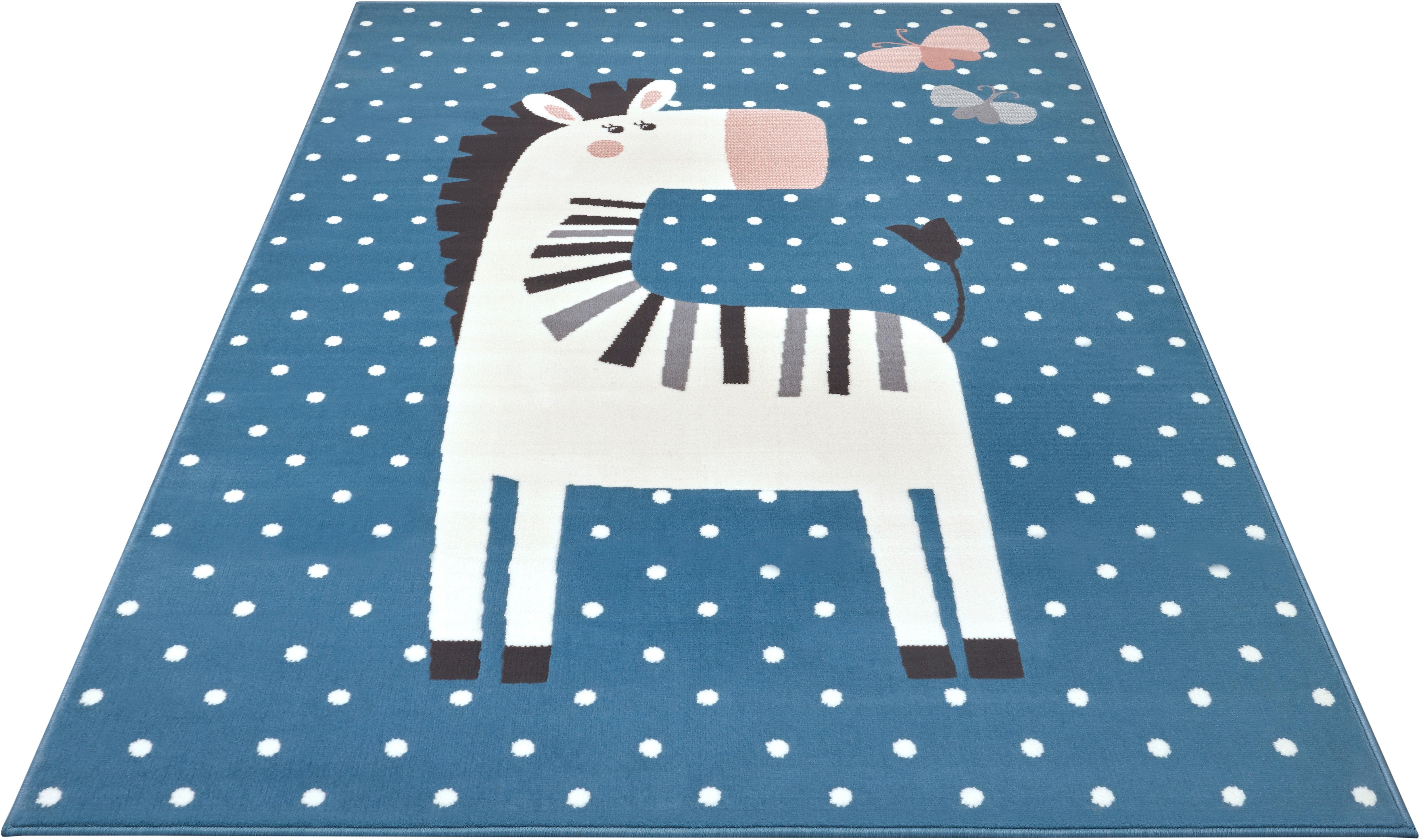 HANSE Home Kinderteppich Zebra Funny, rechteckig, 9 mm Höhe blau Kinder Bunte Kinderteppiche Teppiche