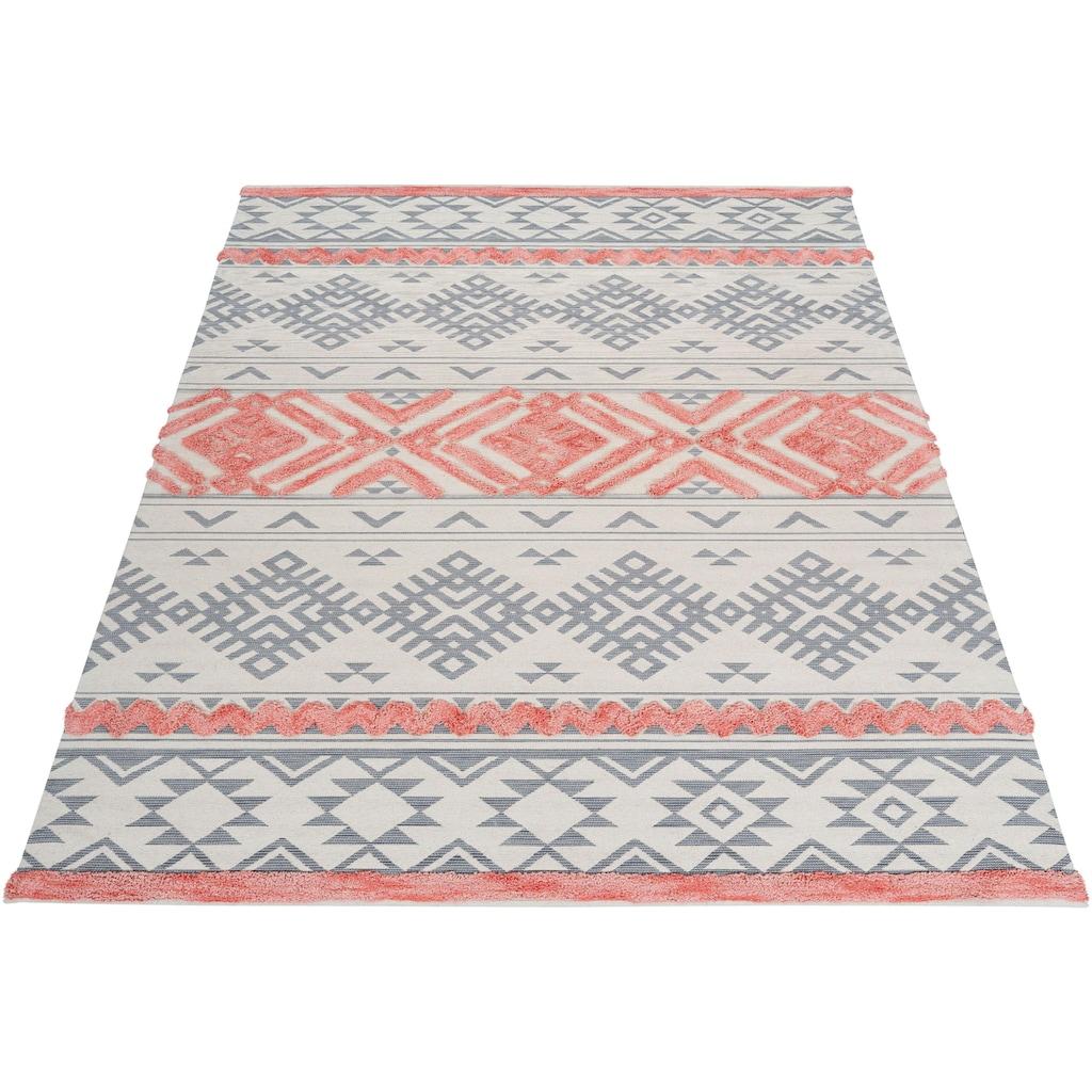 andas Teppich »Darius«, rechteckig, 10 mm Höhe, Hoch-Tief, Pastell, Wohnzimmer