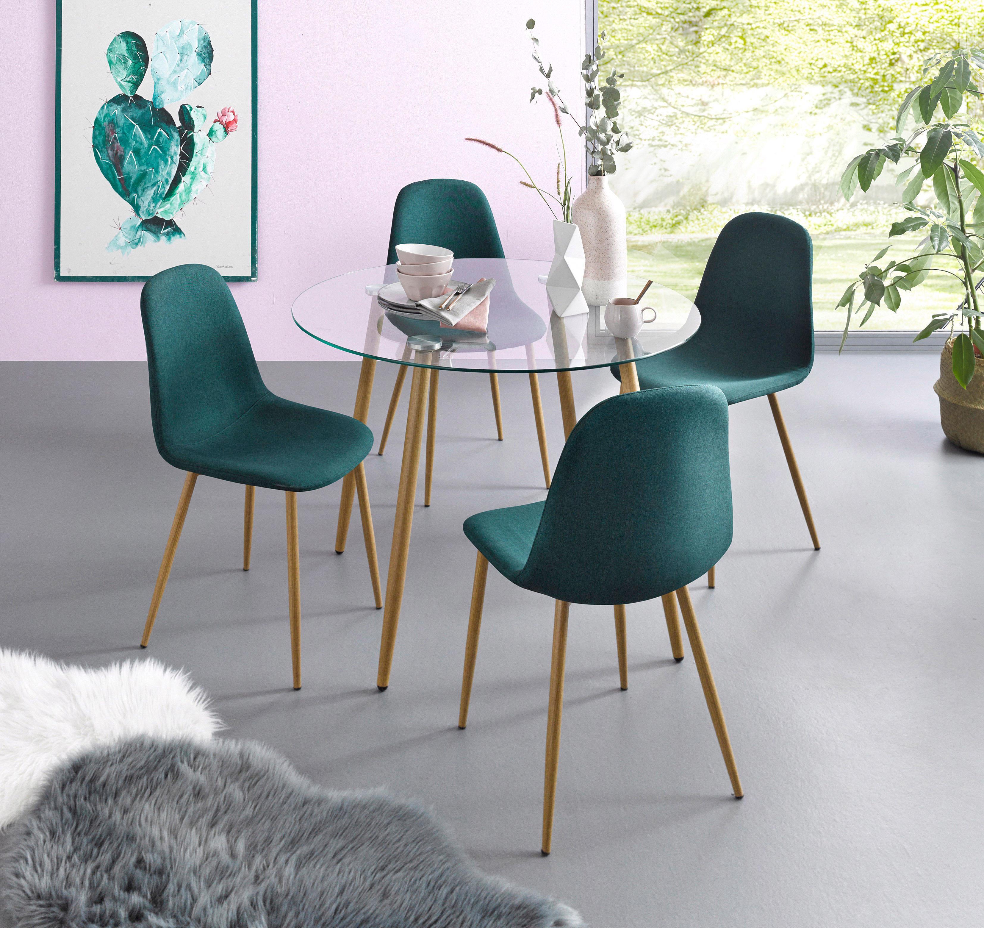Essgruppe Runder Glastisch mit 4 Stühlen (Webstoff)