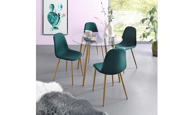 my home Essgruppe »Miller«, (Set, 5 tlg.), Glastisch mit 4 Stühlen (Webstoff) kaufen