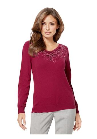Lady Pullover mit Ziersteinchen und Spitze kaufen