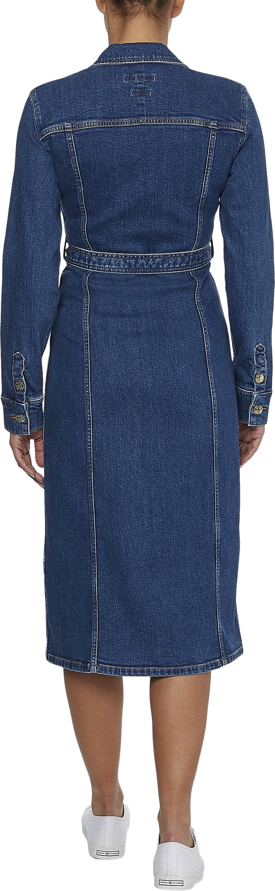 tommy hilfiger -  Jeanskleid FITTED MIDI LENGTH LENY DRESS LS, mit passendem Jeansgürtel