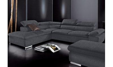 sit&more Ecksofa, wahlweise mit Bettfunktion, frei im Raum stellbar, Ottomane links oder rechts bestellbar, inklusive Arm- und Rückenverstellung kaufen