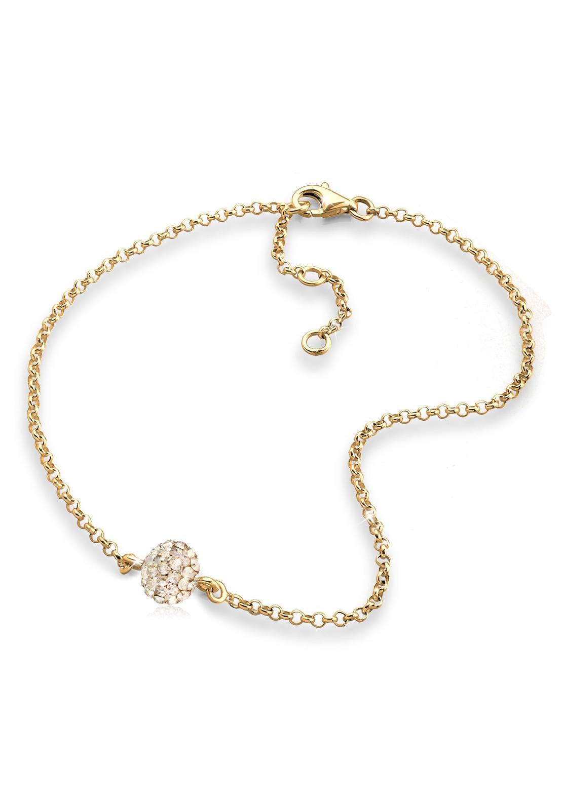 Elli Fußkette Kugel Swarovski Kristalle 925 Sterling Silber | Schmuck > Fußschmuck | Goldfarben | Elli