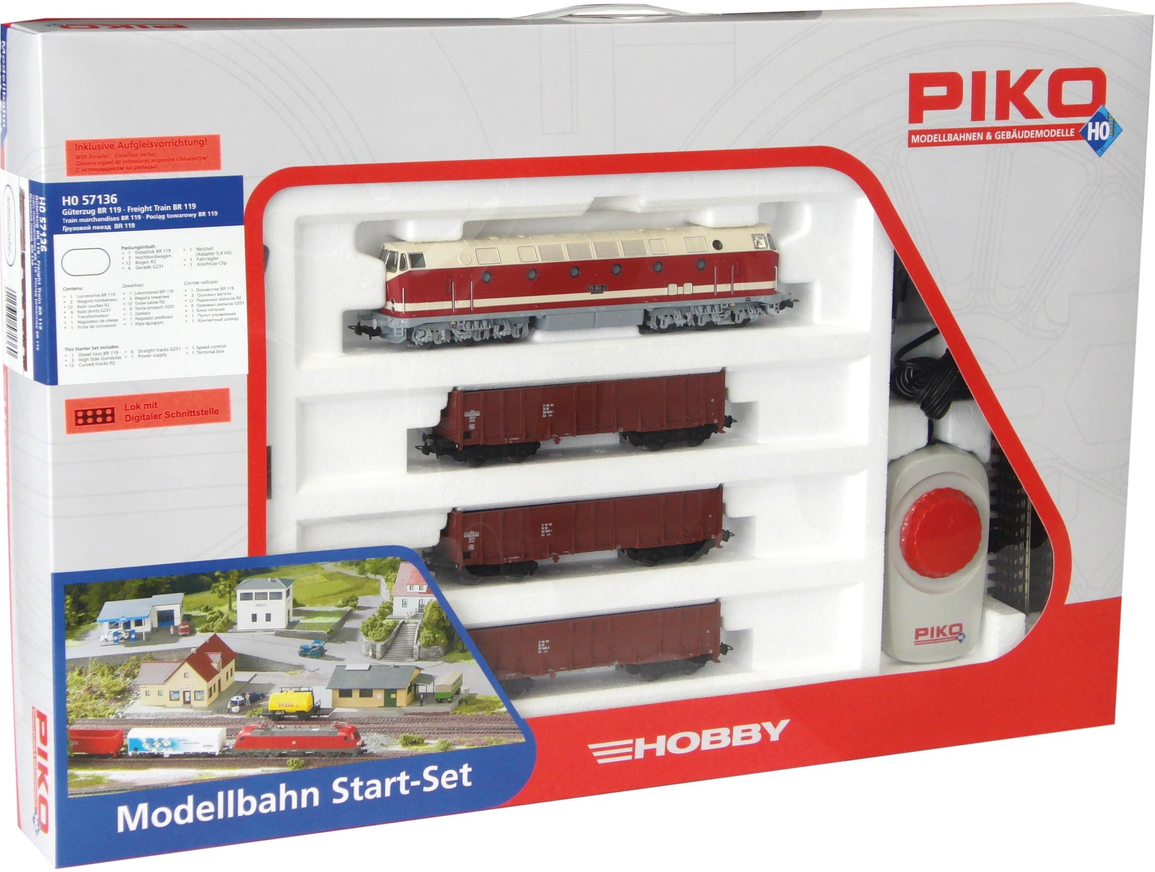 PIKO Modelleisenbahn Startpaket BR 119 und 3 Hochbordwagen, (57138) bunt Kinder Loks Wägen Modelleisenbahnen Autos, Eisenbahn Modellbau