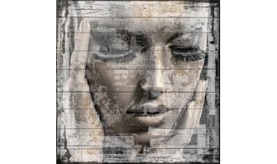 queence Holzbild »Frauen Gesicht«, 40x40 cm kaufen