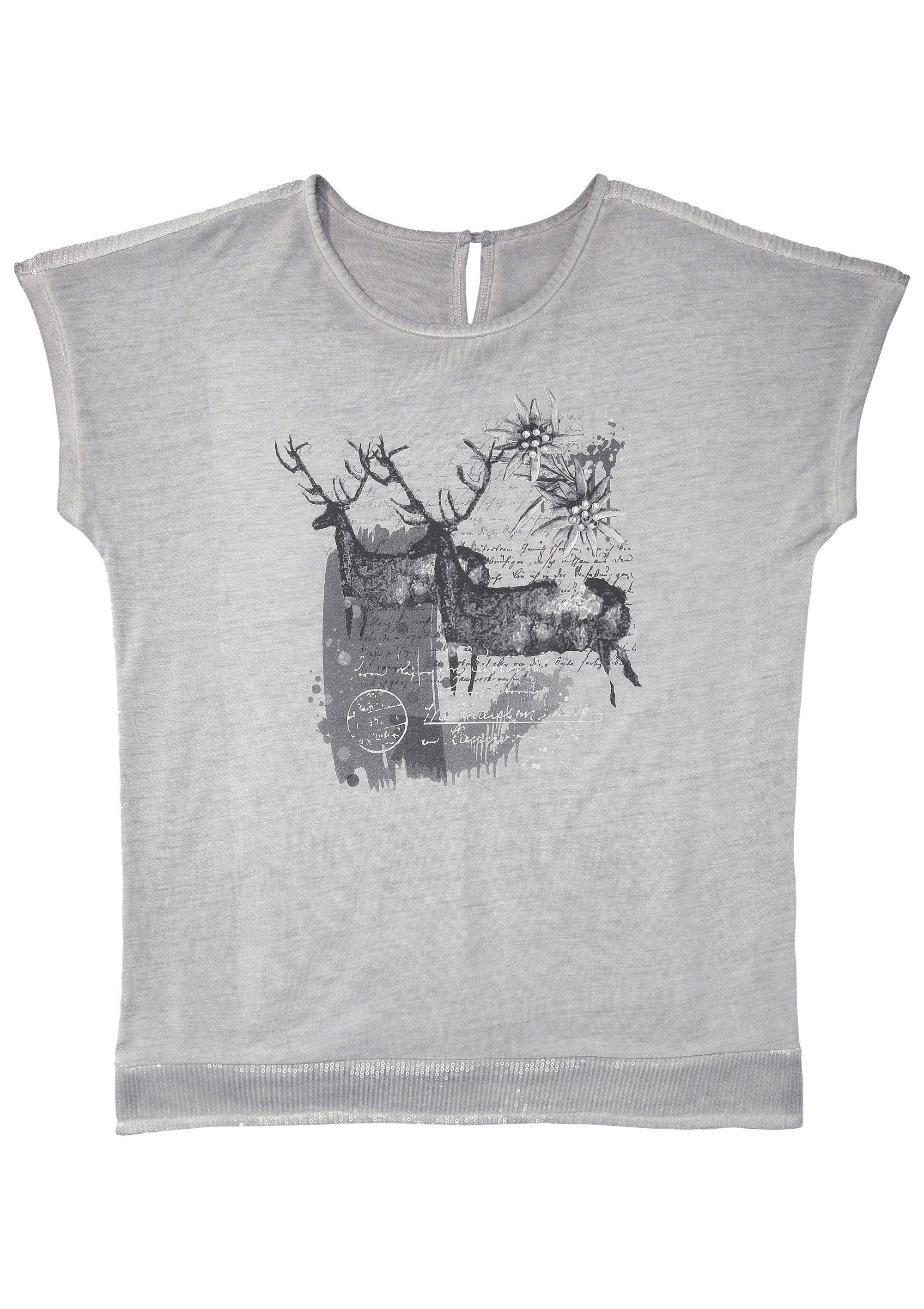 Marjo Trachtenshirt Damen mit funkelnden Pailletten Damenmode/Bekleidung/Trachtenmode/Trachtenshirts