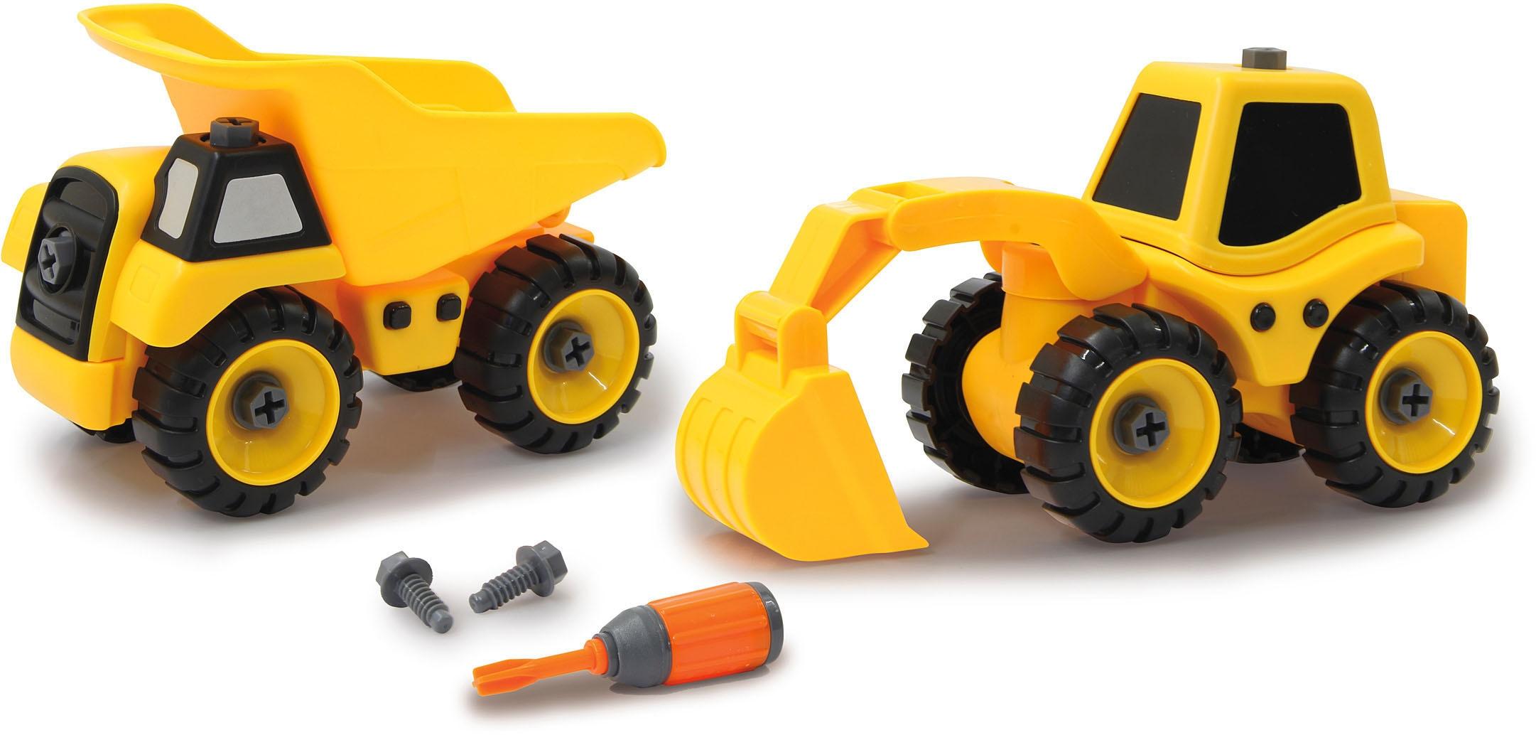 Jamara Spielzeug-Traktor Baufahrzeuge 9 in 1 (Set, 46-tlg.) gelb Kinder Ab 3-5 Jahren Altersempfehlung Spielzeugfahrzeuge
